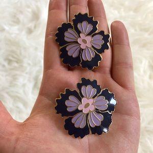 3 sets 1980 pierced earrings flowers pearls enamel